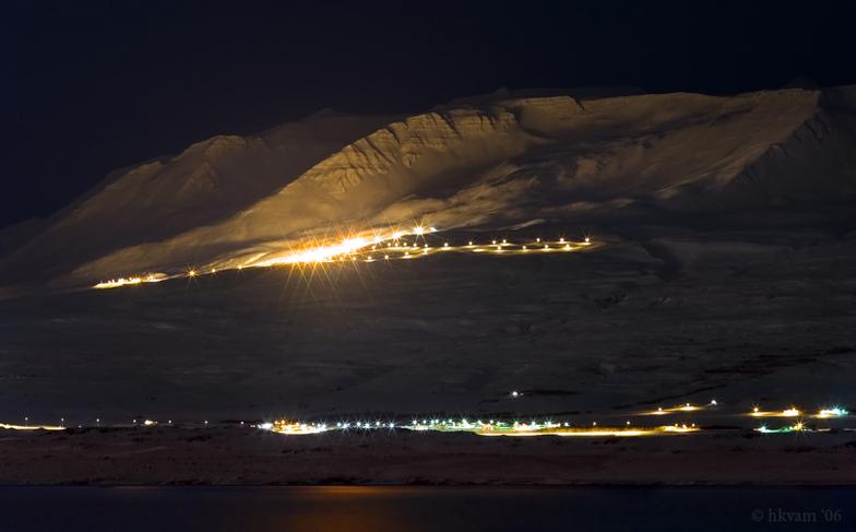 The ski slopes at Mt Hlidarfjall in Eyjafjordur, N-Iceland., Akureyri