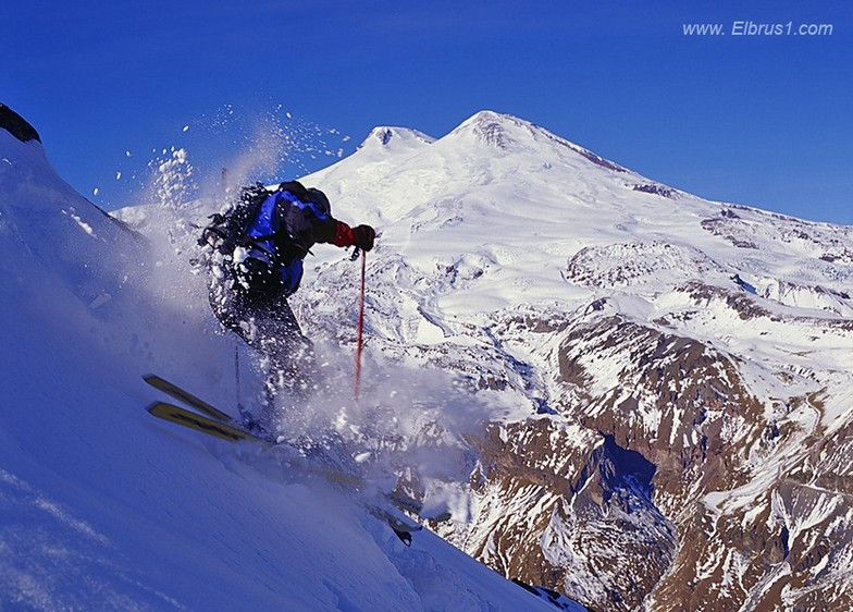 Free-ride in Cheget with Mt. Elbrus view, Mt Cheget