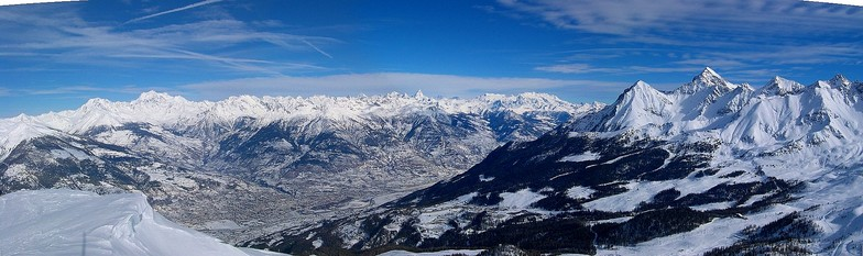 Panoramic view of Pila area and Aosta Valley