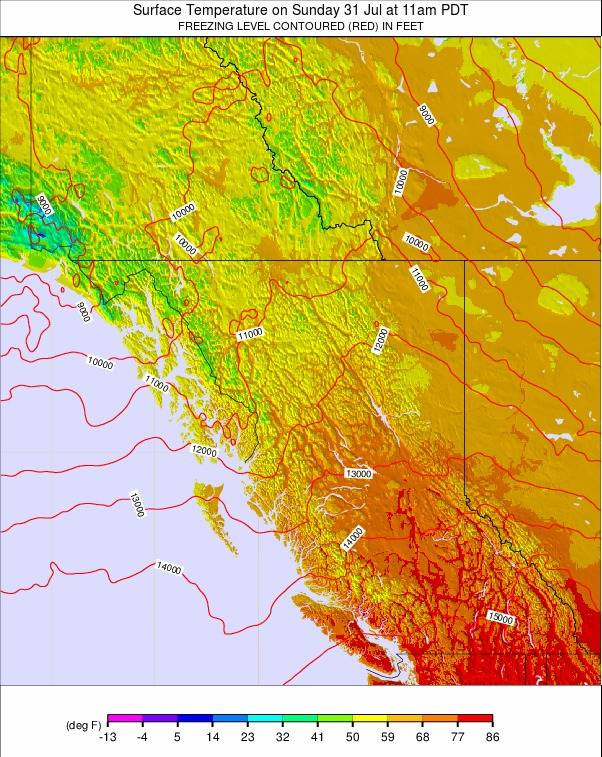 West Canada weather map - click to go back to main thumbnail page