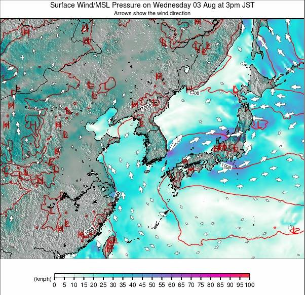Show The Map Of Asia.East Asia Wind Forecast