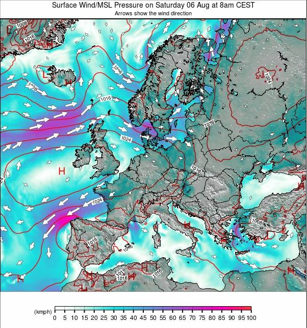 Europe weather map - click to go back to main thumbnail page