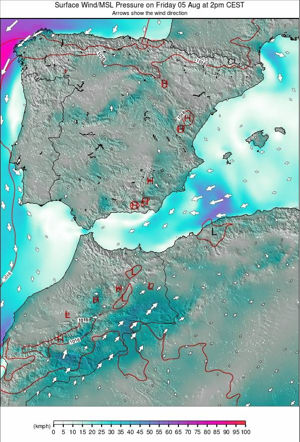 Spain / Portugal weather map - click to go back to main thumbnail page