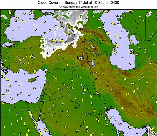 Iran Weather Map.Middle East Cloud Forecast