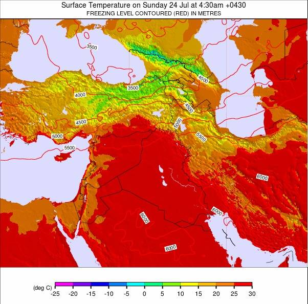 Iran Weather Map.Middle East Temperature Forecast