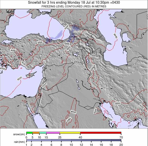 Iran Weather Map.Middle East Snow Forecast
