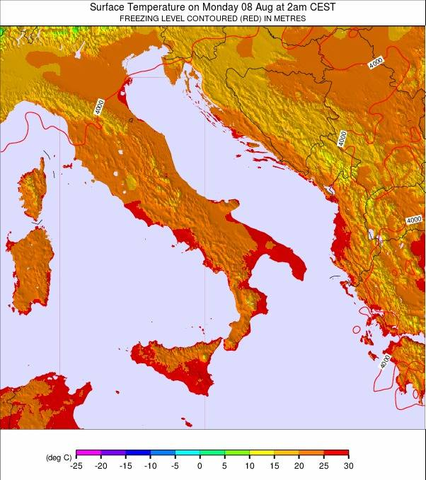 Italy Map 1500.Italy Temperature Forecast