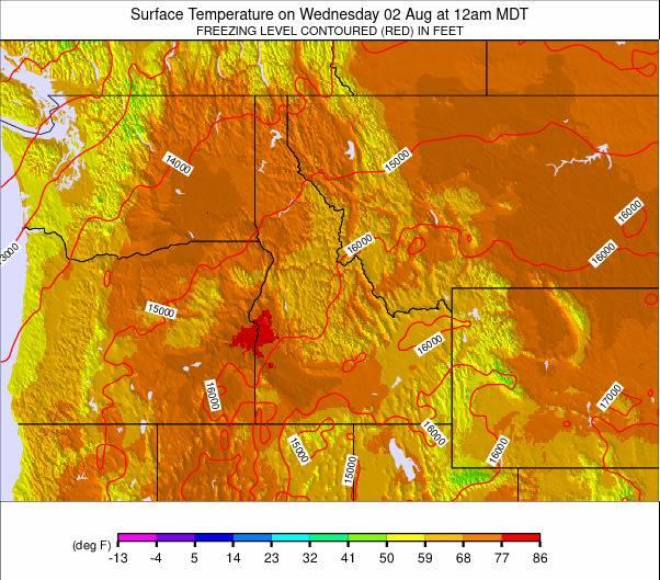 Northwest USA Temperature Forecast on