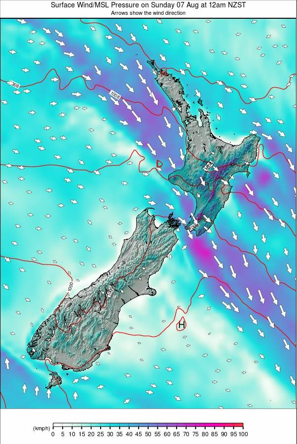 New Zealand Weather Map.All New Zealand Wind Forecast