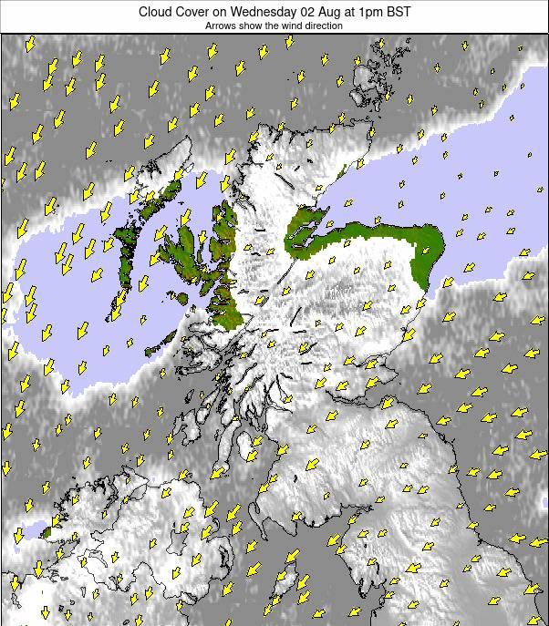Scotland Weather Map.Scotland Cloud Forecast