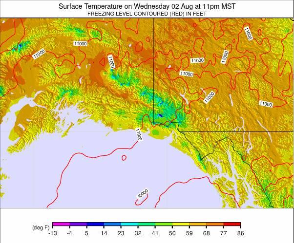 Southern Alaska Temperature Forecast