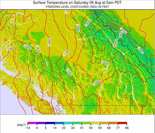 Southwest Canada Temperature Forecast