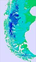 Southern Andes temperature map