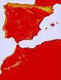 Spain / Portugal temperature map