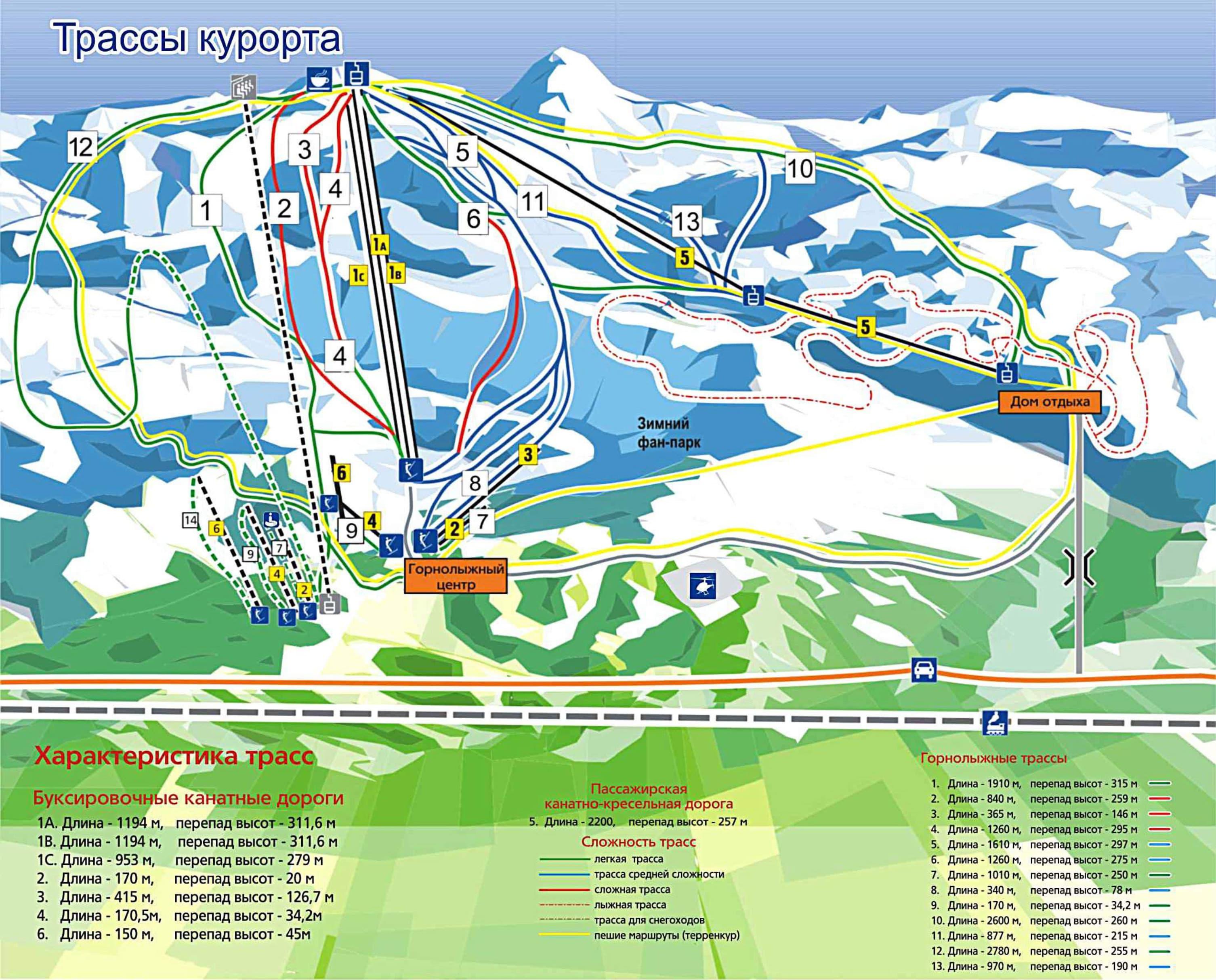 Abzakovo Piste / Trail Map