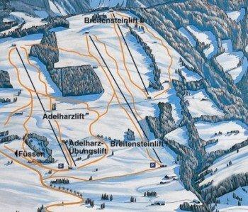 Adelharz u. Breitensteinlifte Kranzegg Piste / Trail Map