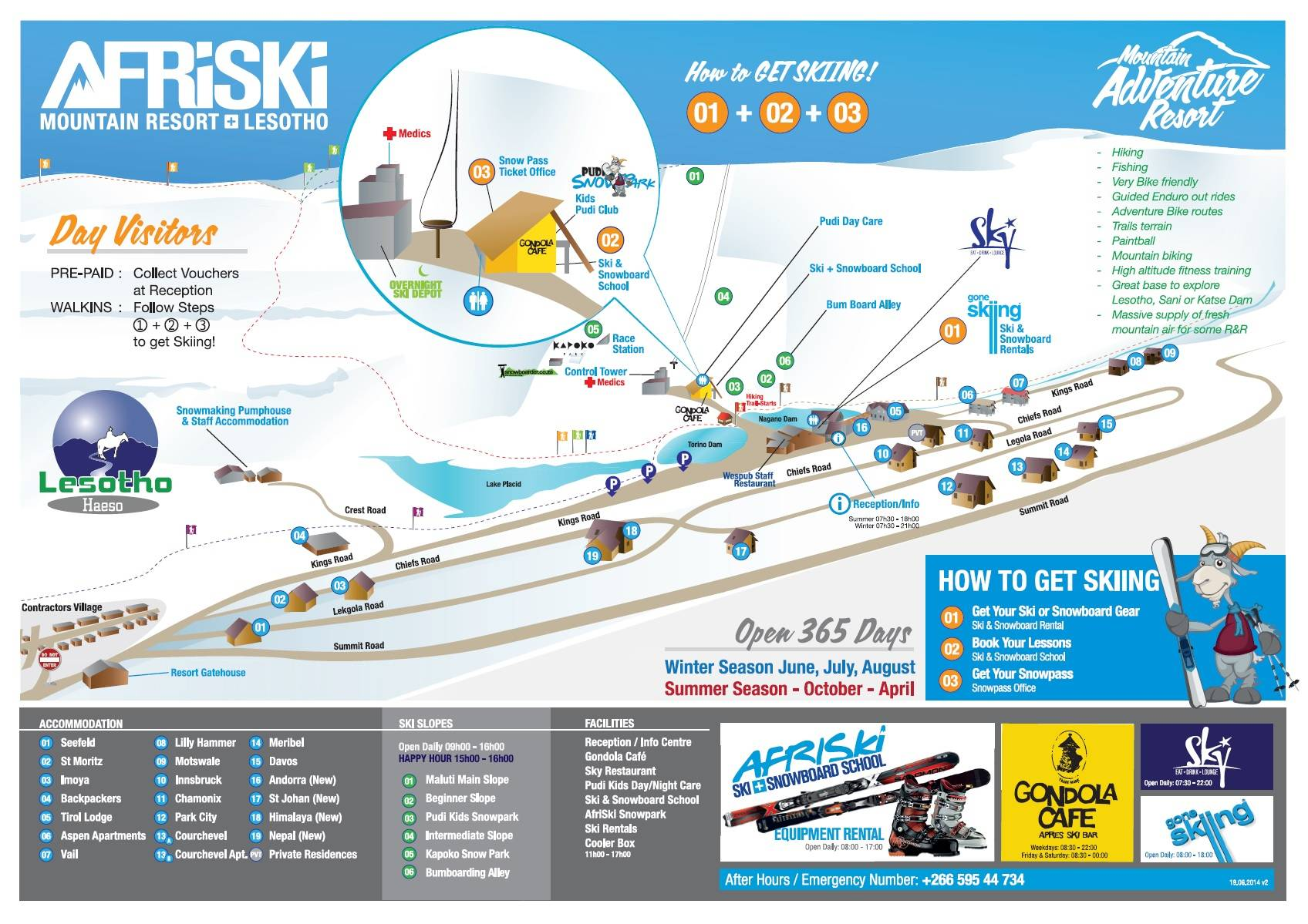 Afriski Mountain Resort Piste / Trail Map