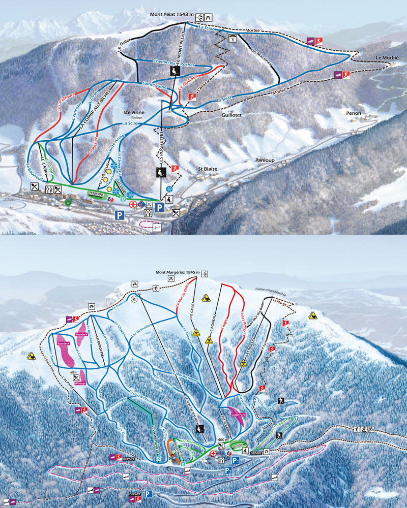 Aillons-Margeriaz Piste / Trail Map