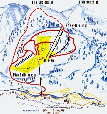 Ala di Stura Piste / Trail Map