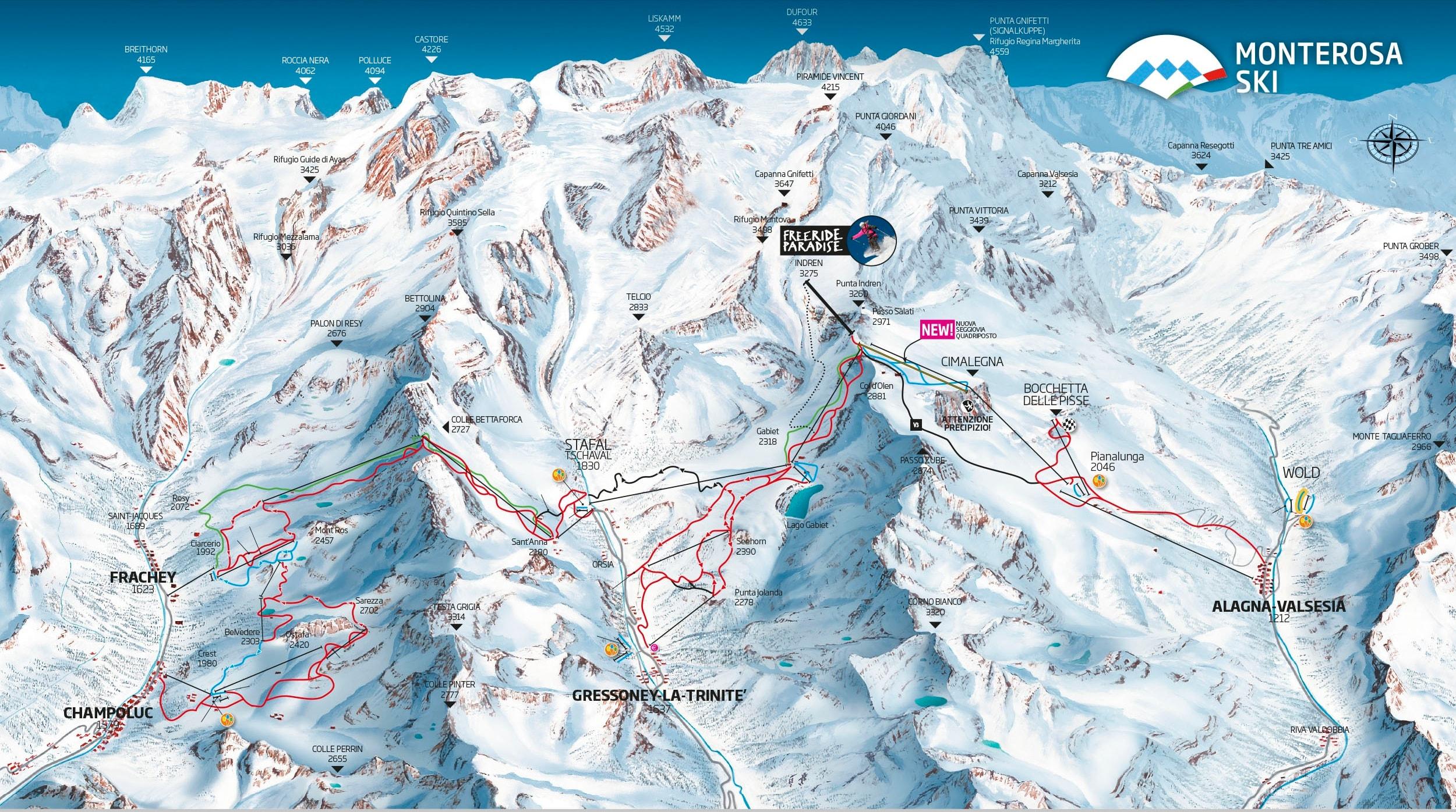 Alagna Piste / Trail Map