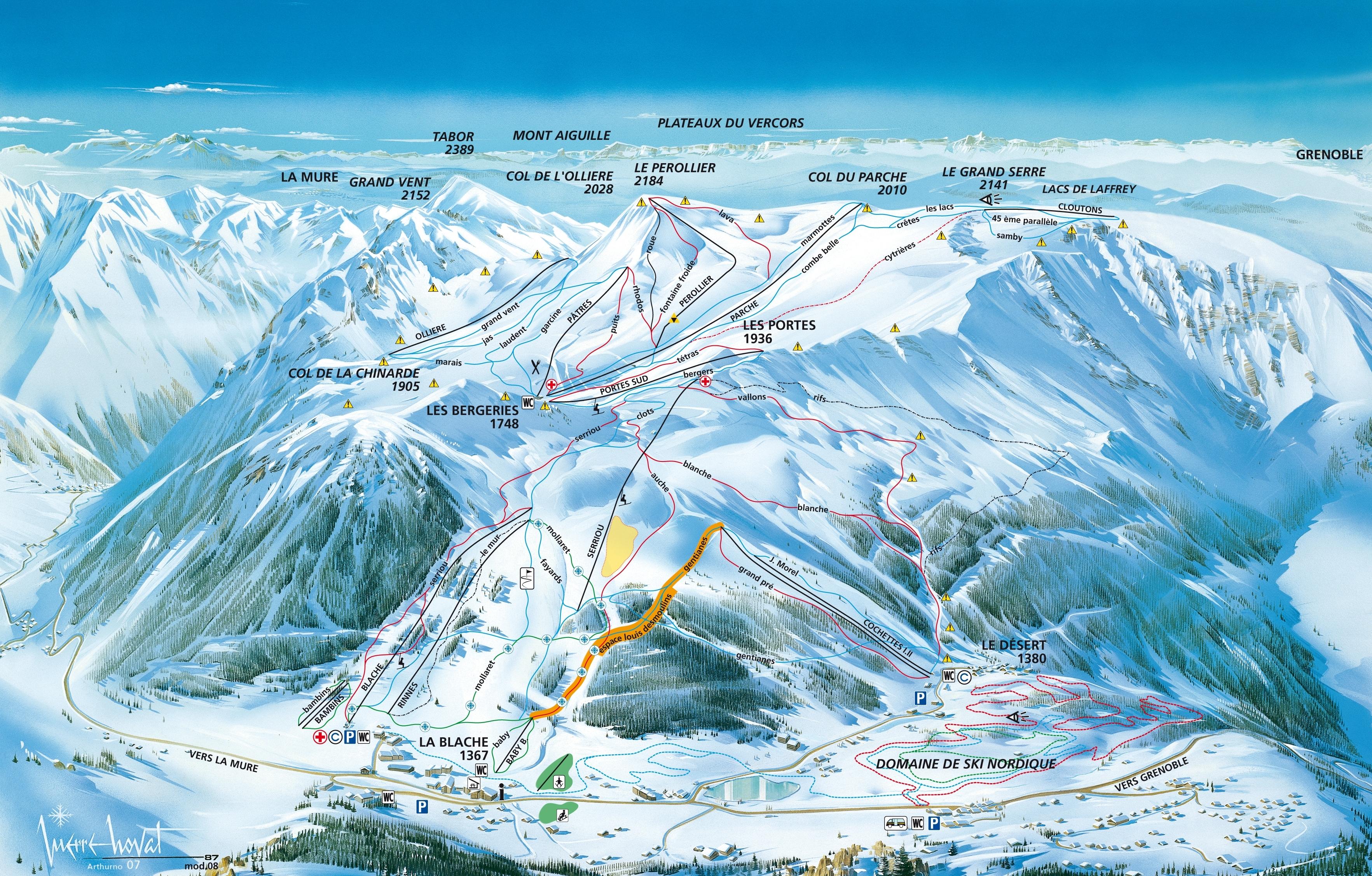 Alpe du Grand-Serre Piste / Trail Map