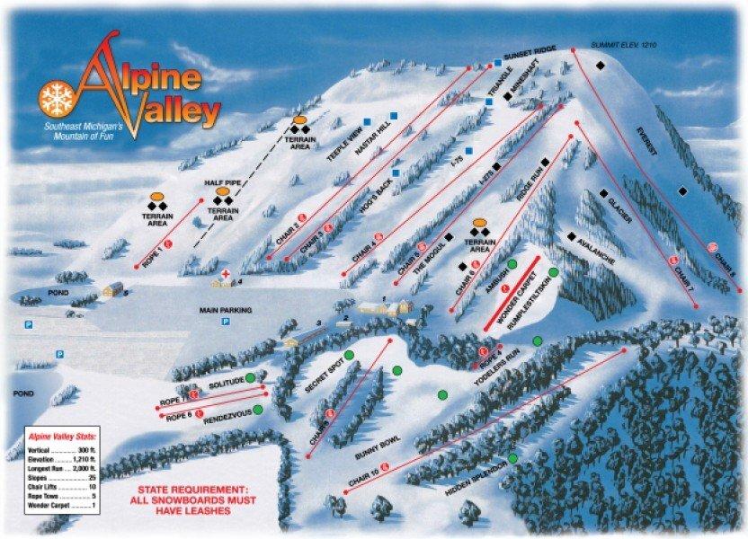 Alpine Valley Ski Area Piste / Trail Map
