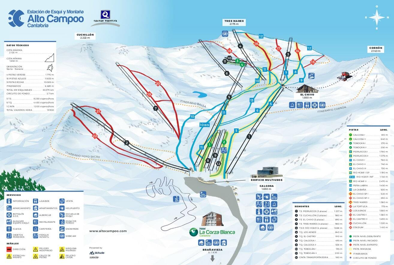 Alto Campoo Piste / Trail Map