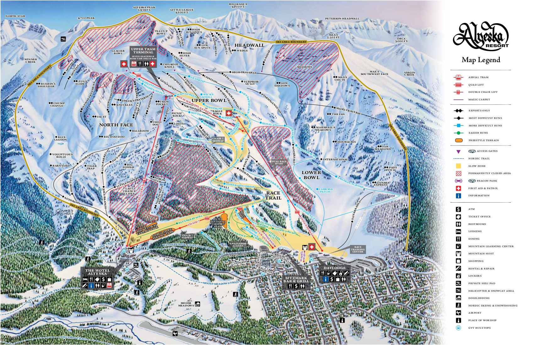 Alyeska Resort Piste / Trail Map