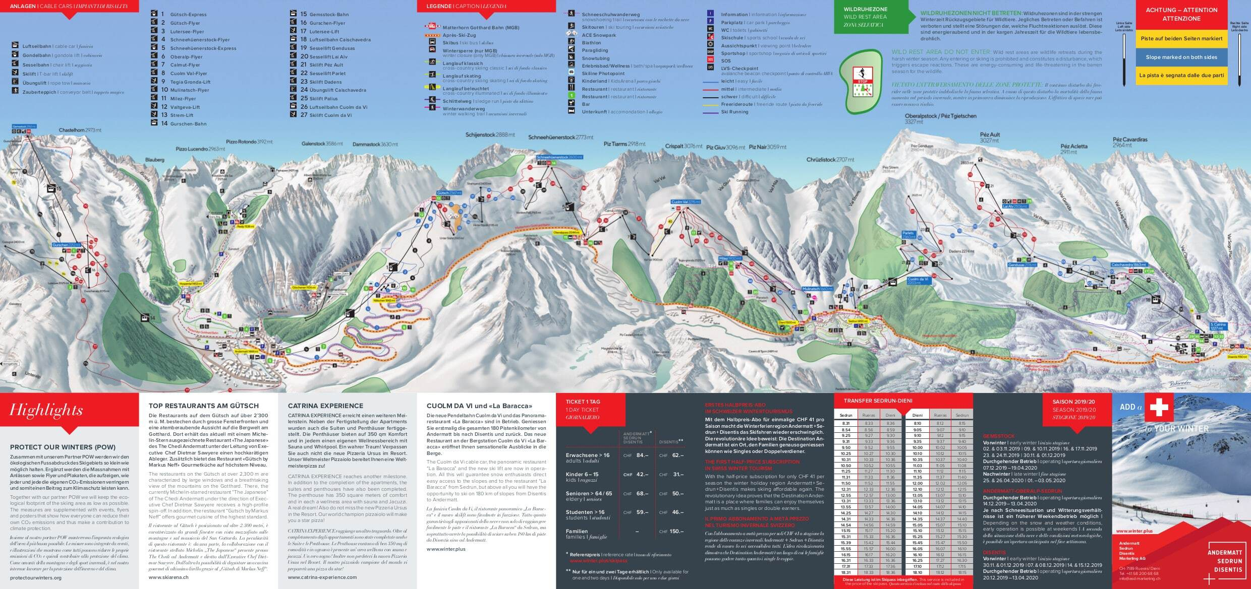 Andermatt Piste / Trail Map