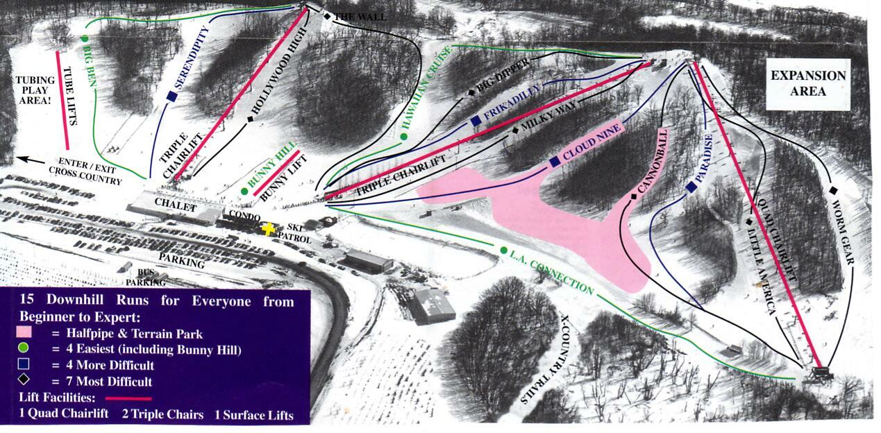 Andes Tower Hills Ski Area Piste / Trail Map