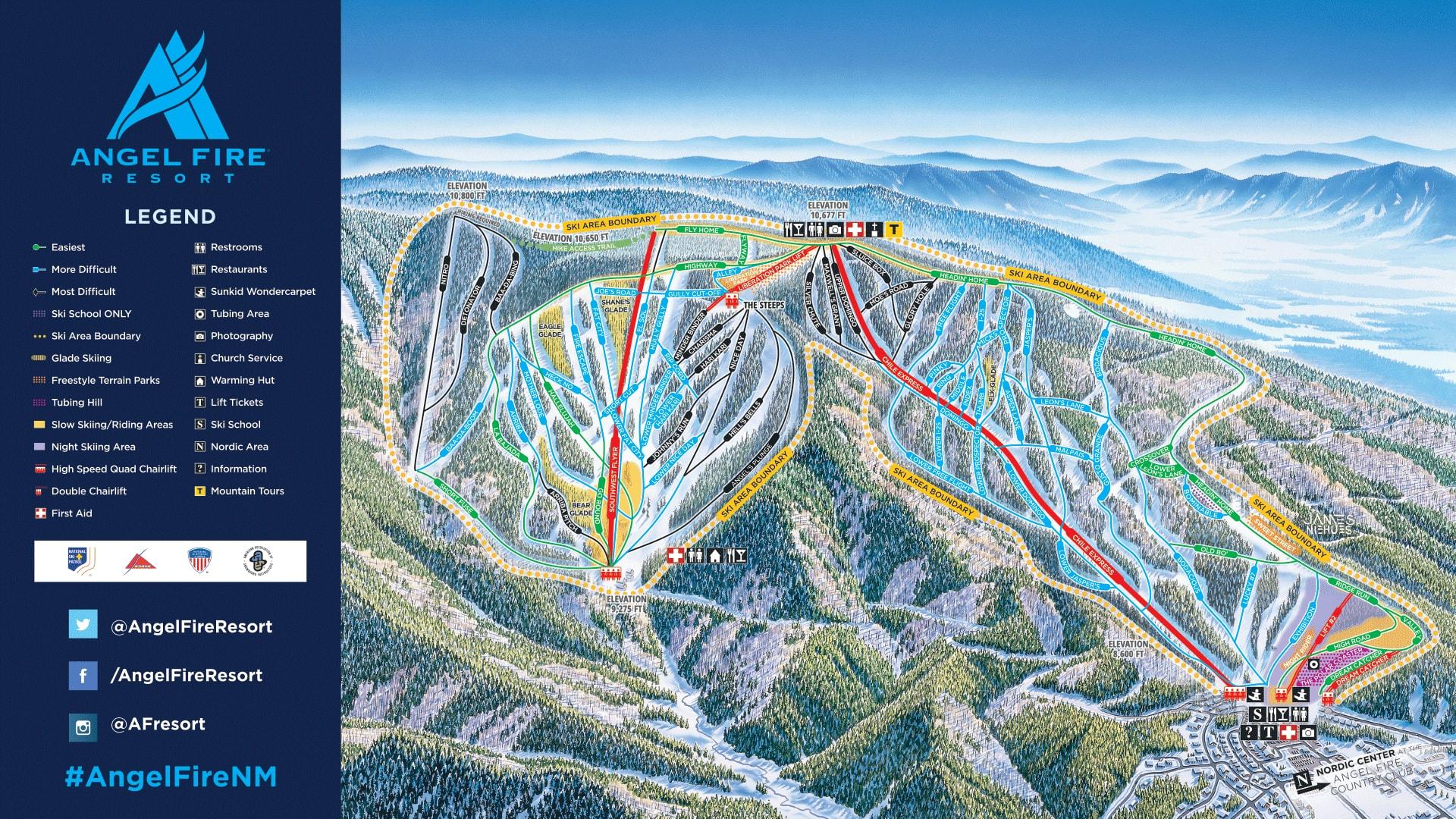 Angel Fire Resort Piste / Trail Map
