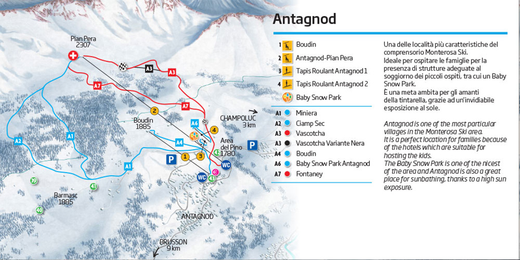Antagnod Piste Map Trail Map