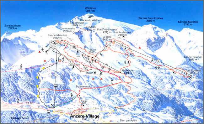 Anzre Piste Map Trail Map