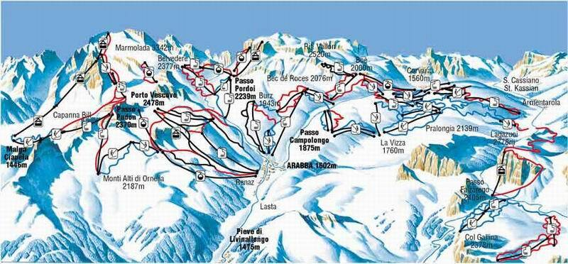 Arabba Piste Map Trail Map
