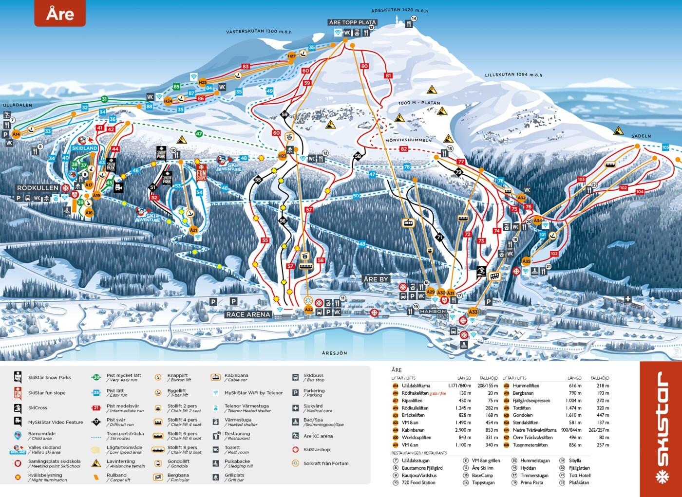 Guide De Station De Ski De åre Carte Hébergement Vacances