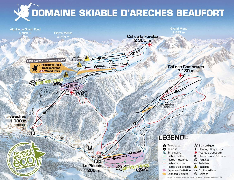 ArchesBeaufort Piste Map Trail Map