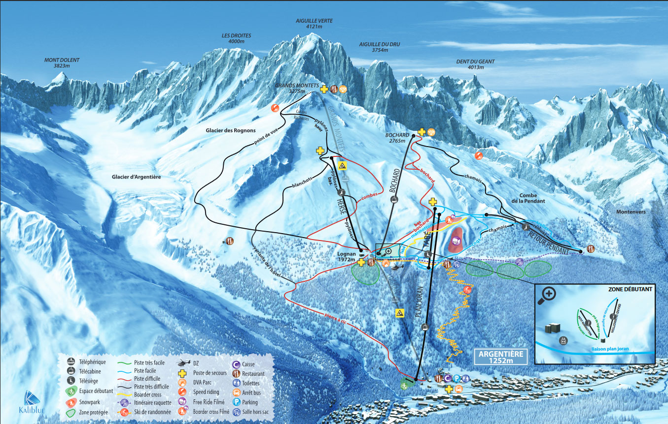 Argentiere Piste / Trail Map