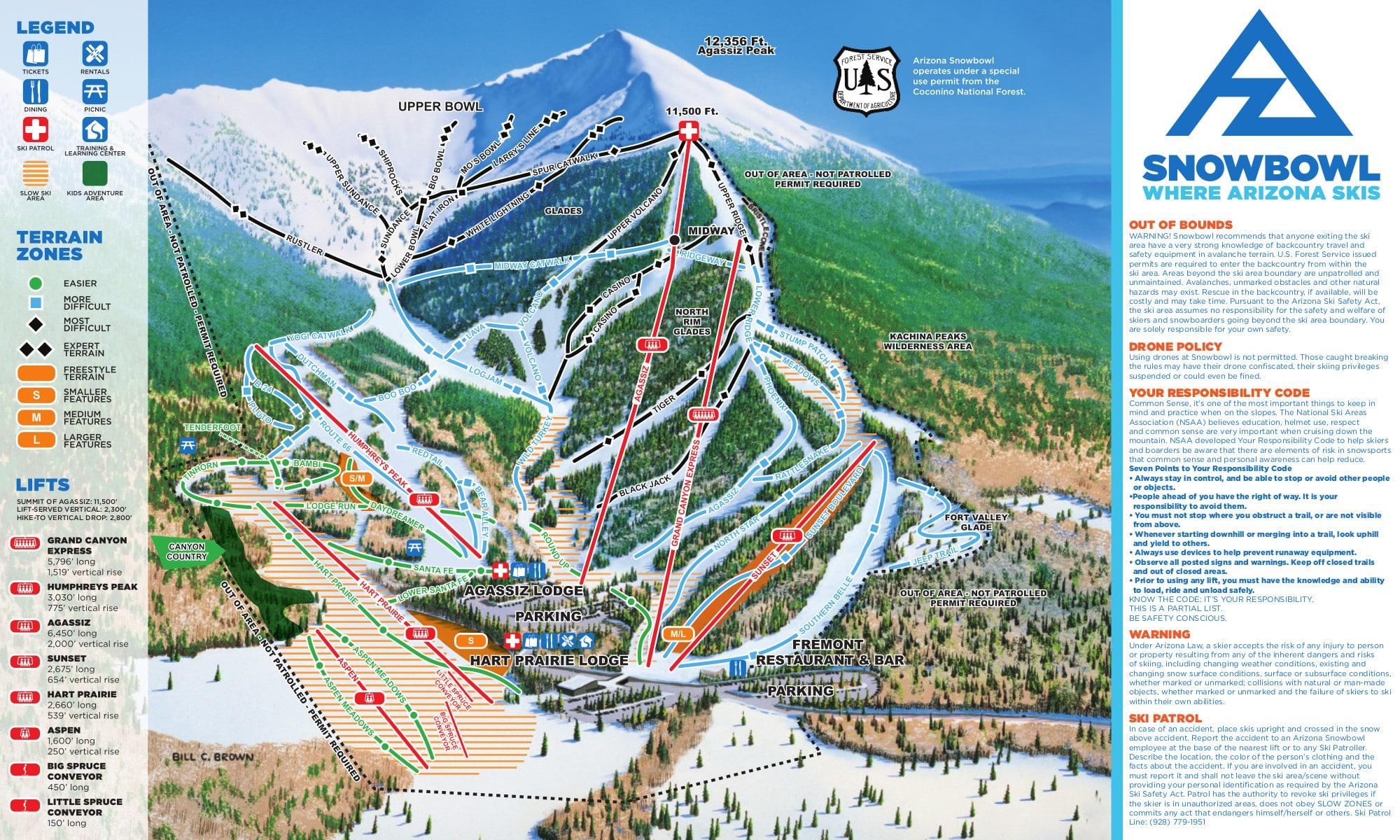 Arizona Snowbowl Piste / Trail Map