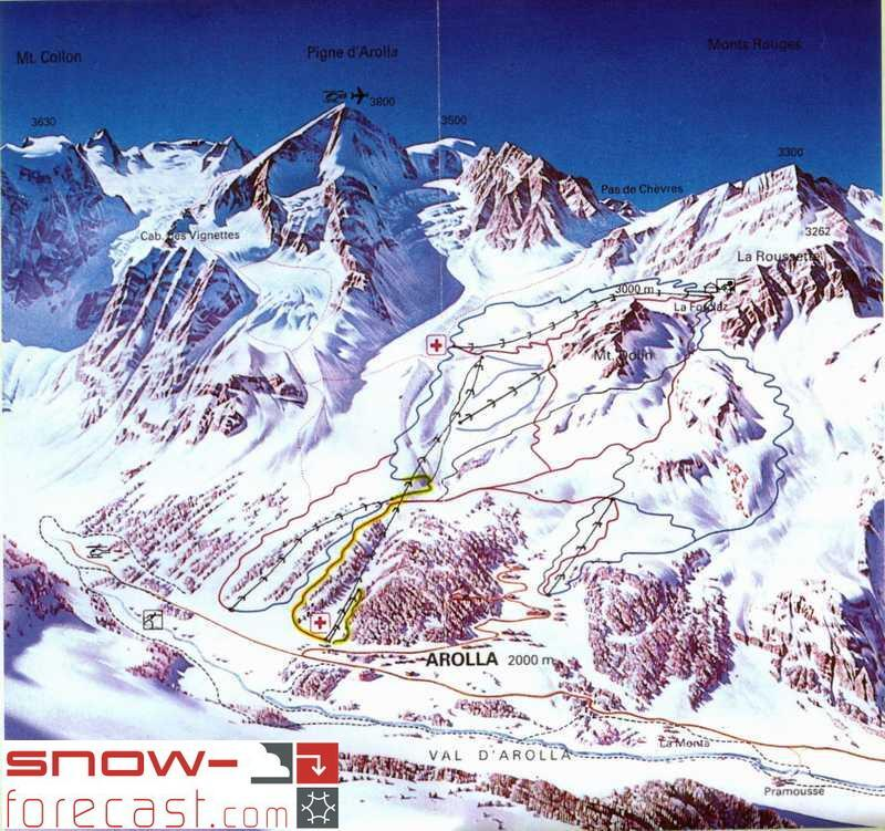 Arolla Piste / Trail Map
