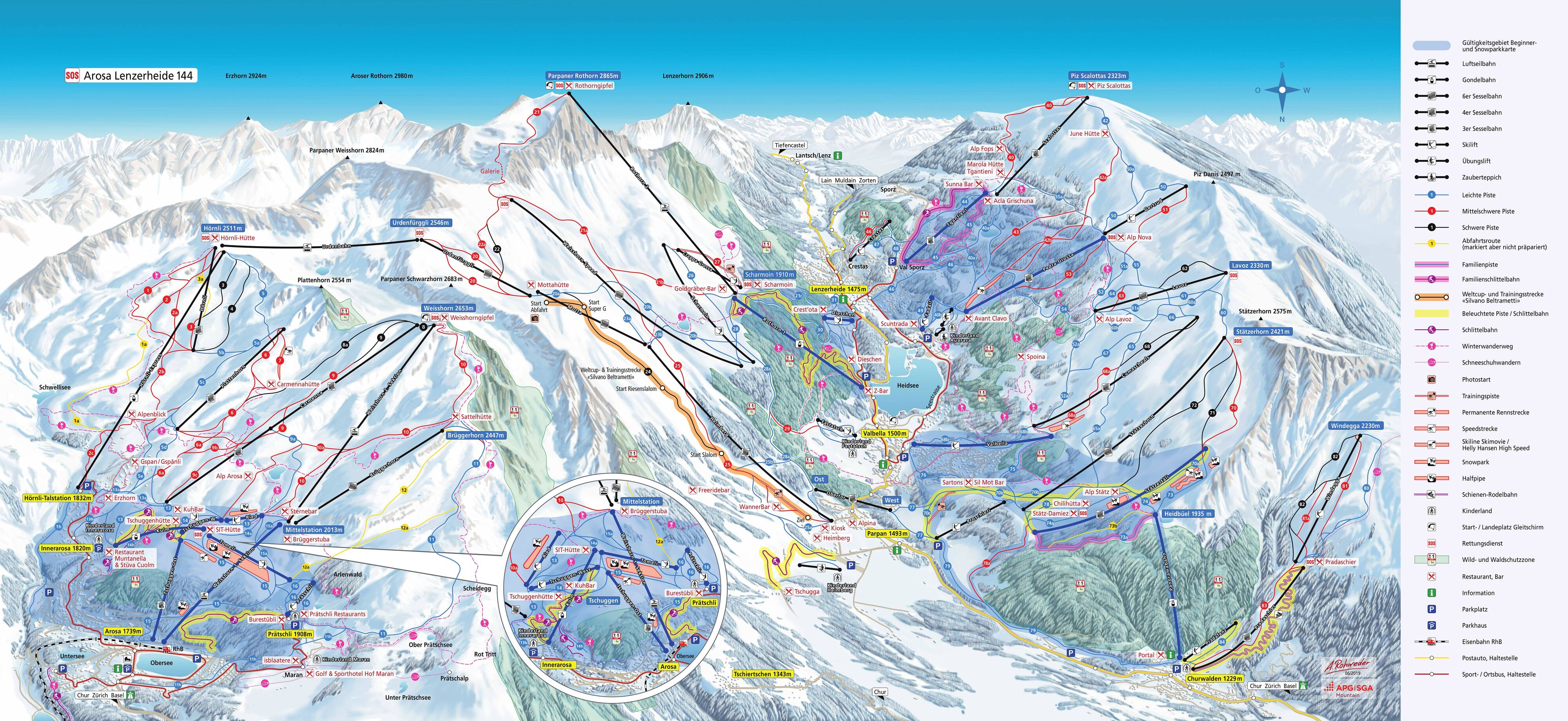 Arosa Piste Map Trail Map