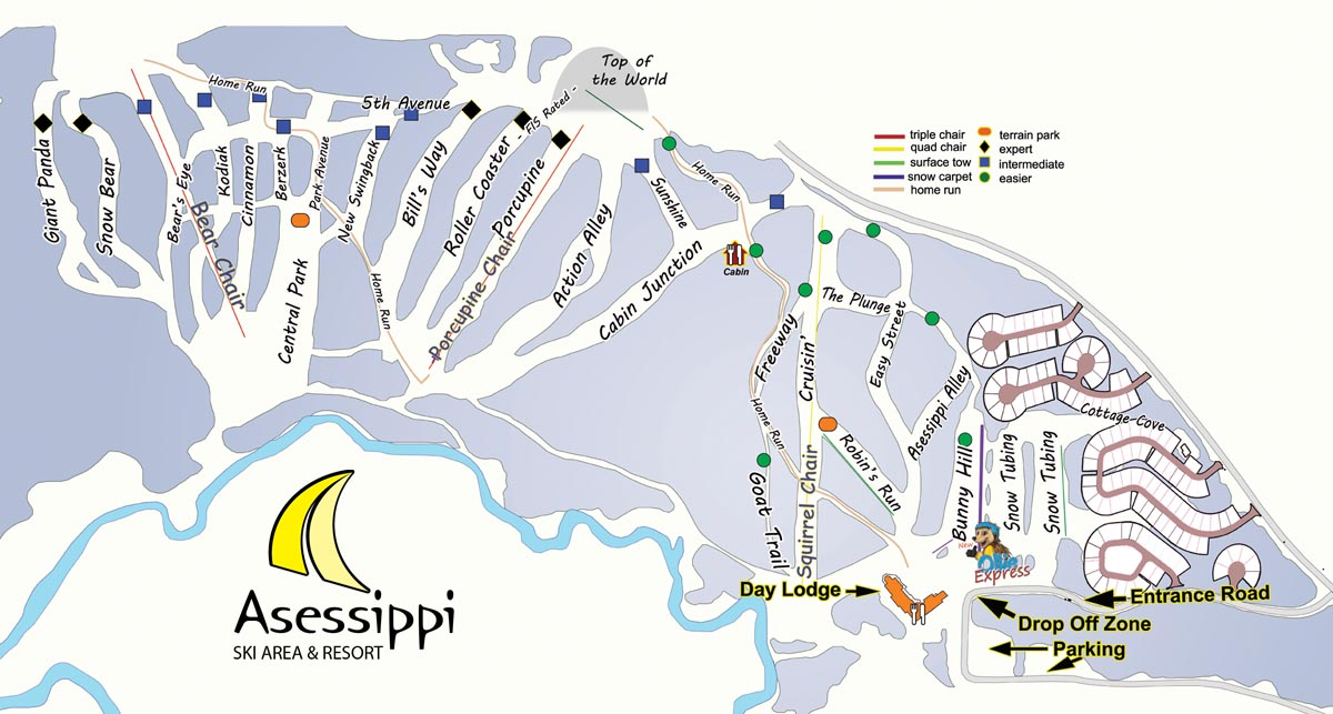 Asessippi Ski Area and Resort Piste / Trail Map