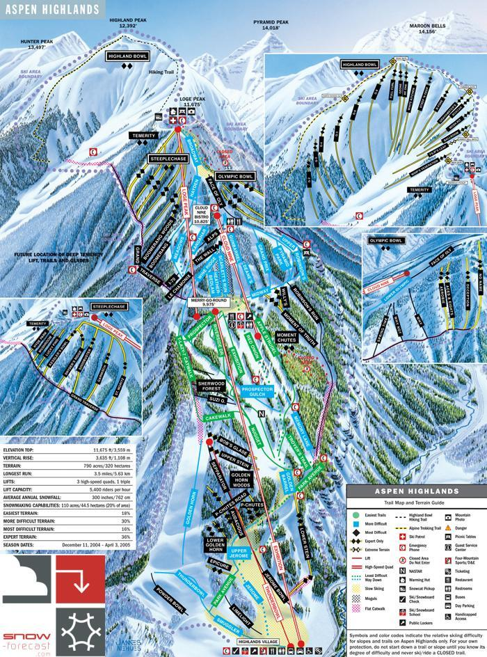 Aspen Highlands Piste / Trail Map