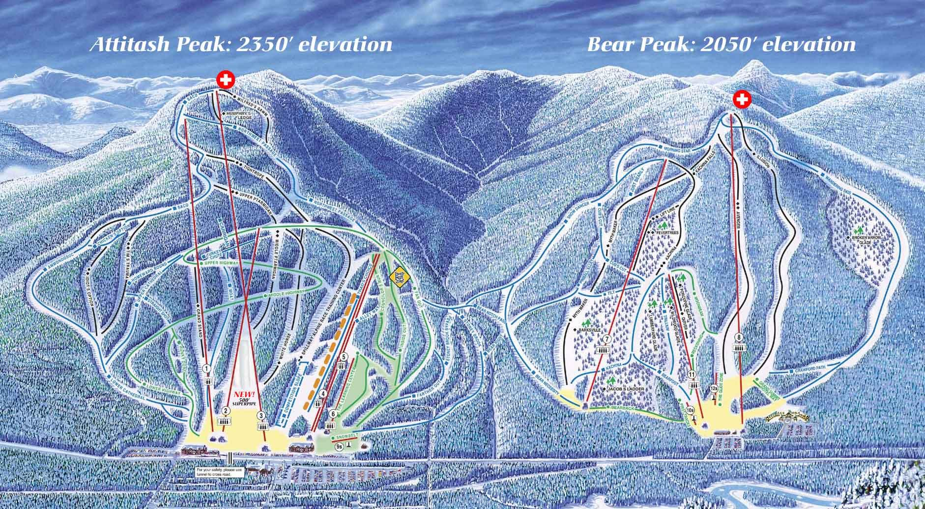 Attitash Mountain Resort Piste / Trail Map