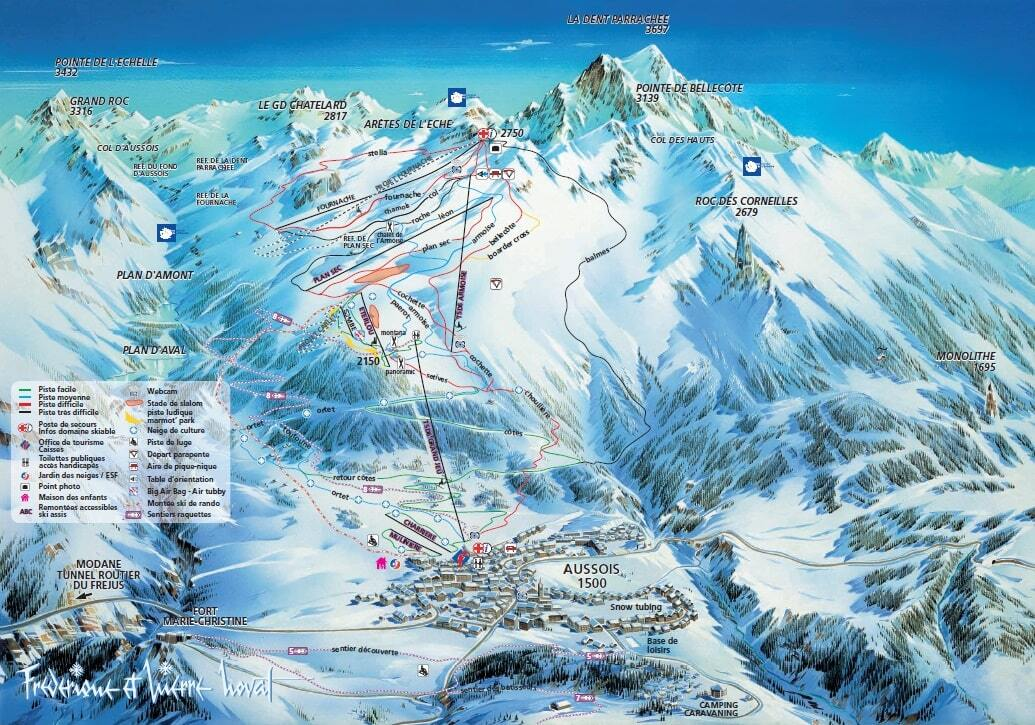 Aussois Piste Map Trail Map