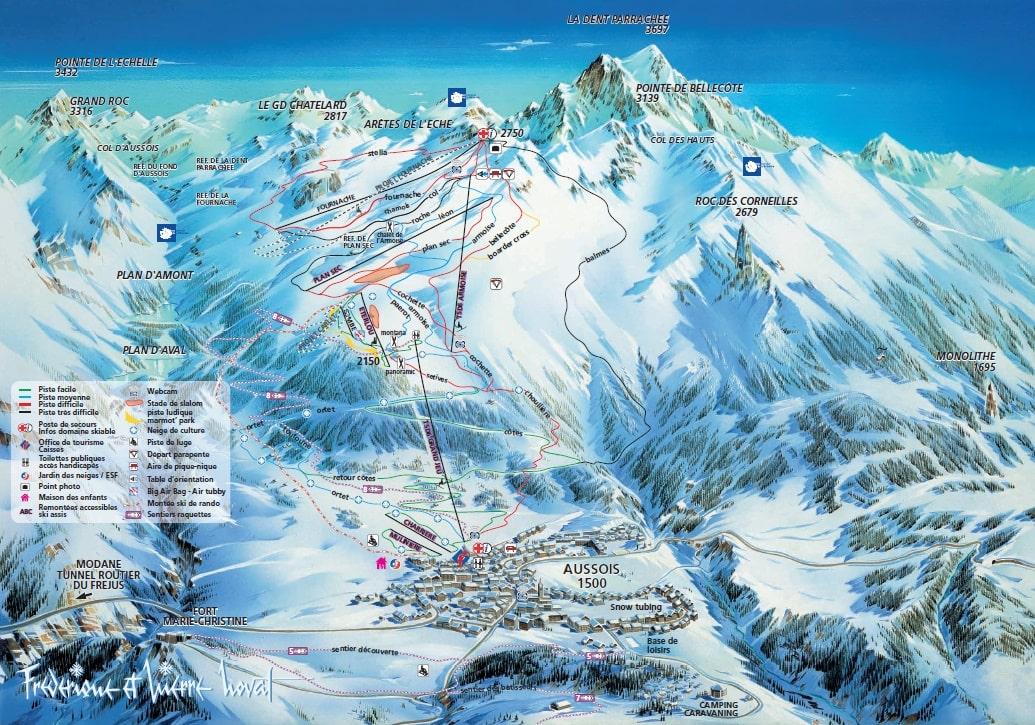 Aussois Piste / Trail Map