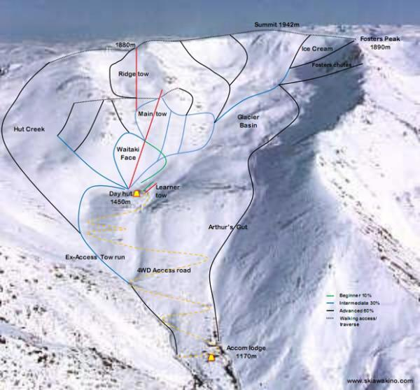 Awakino Ski Area Piste / Trail Map