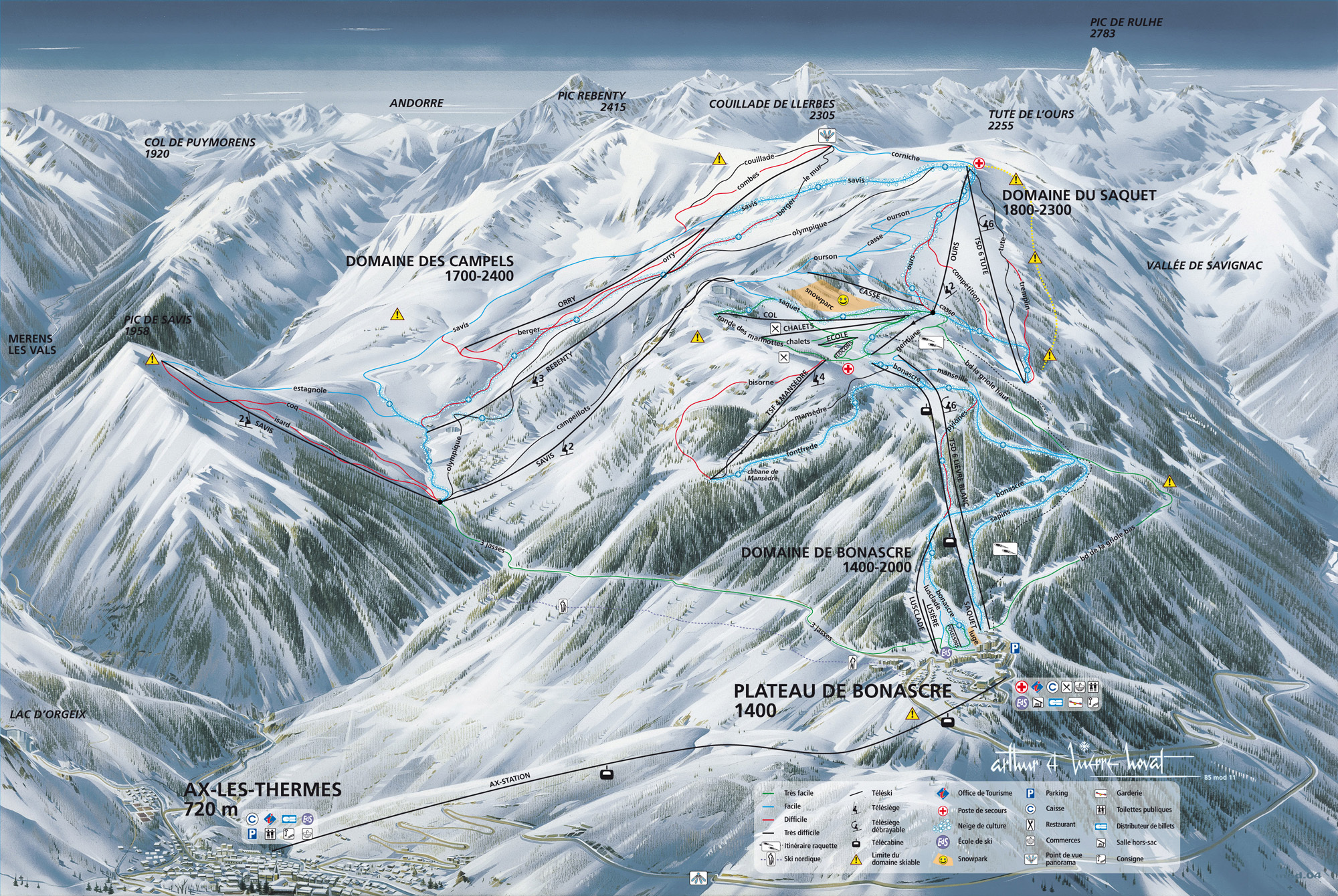Ax 3 Domaines Piste / Trail Map