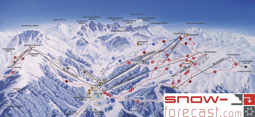 Axamer Lizum Piste / Trail Map