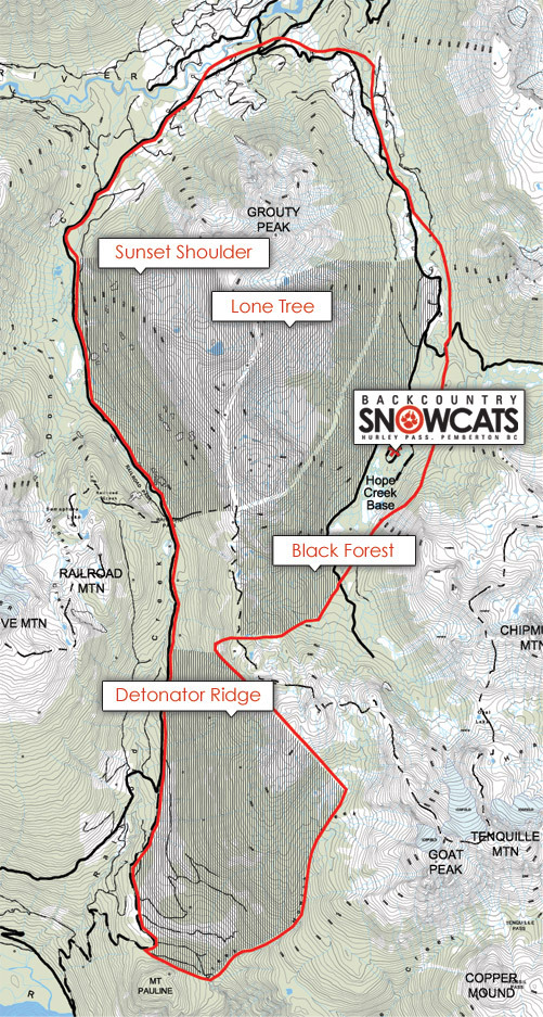 Backcountry Snowcats Piste / Trail Map