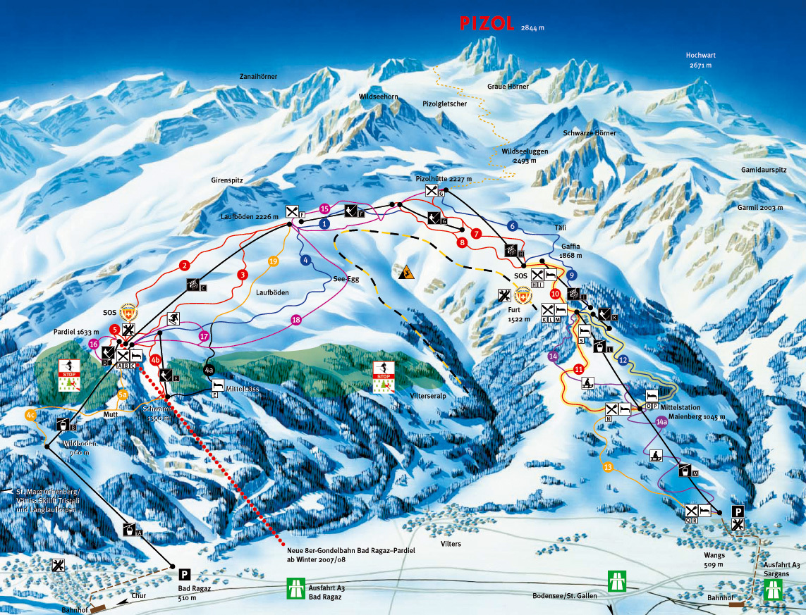 Pizol Piste Map Trail Map